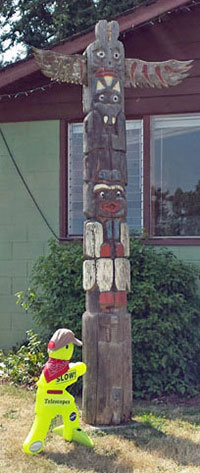 Timmy at the Totem pole in Clinton, WA